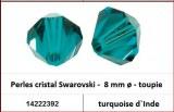 Perles cristal Swarovski -  8 mm a¸ - toupie - turquoise d`Inde