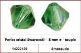 Perles cristal Swarovski -  8 mm a¸ - toupie - emeraude