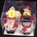 4 Pieces de Noel ! ange, pere noel, elan, bonhomme de neige, en polyresine 3.5cm