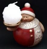 Bonhomme de neige en ceramique avec bougie - 10cm