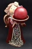 Ange de Noel en ceramique avec bougie - 10cm