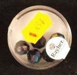 Perles en verre facettees, 10 mm a¸, boite 5 pces, obsidian